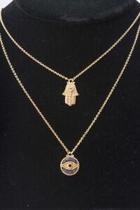 Judith Ripka Evil-Eye Hamsa 14K Goldplated Sapphire Topaz Pendant Necklace