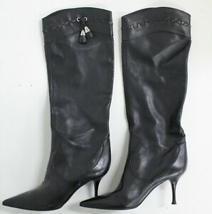 SERGIO ROSSI Black Leather Knee-High Stiletto Boots Size 38.5