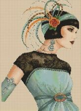 Art Deco Lady in Aqua Green Dress Counted Cross Stitch COMPLETE KIT No. 1-30
