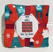 NEW Super Soft 'Bah Hum Bug' Red & Green Throw Christmas Holiday Blanket