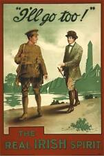 WWI IRISH BRIGADE DUBLIN  IRELAND SOLDIER RECRUITMENT POSTER CANVAS ART