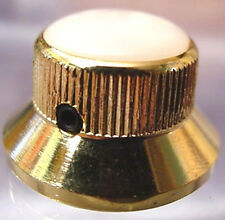 GOLD TOP HAT + WHITE PEARLOID ELEC GUITAR KNOB + screw