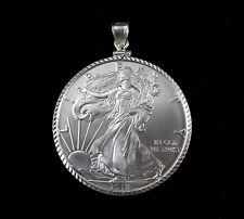 2018 BU Silver American Eagle Dollar Pendant w/Solid 925 Sterling Silver Bezel