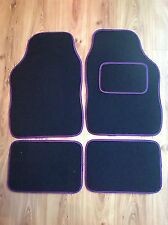 UNIVERSAL CAR FLOOR MATS- BLACK WITH PURPLE TRIM FOR HONDA S2000 NSX CR-X CR-Z