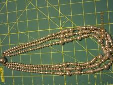 Necklace Triple Strand 22 inch Pearl Sterling Silver Pearls Beads