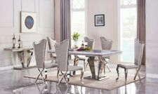 Stunning Marble Dining table With Chairs Stainless Steel Base with modern Design