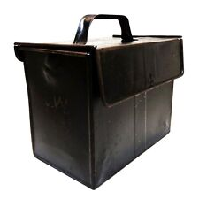 EARLY 20TH C ANTIQUE RUSTIC BLACK ENAMEL TIN LUNCH BOX W/HINGED LID/CLASP/HANDLE