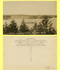 EXC Real Photo Postcard, North Harbor Maine Across Thoroughfare, 2 Mast Sailboat