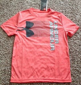 UNDER ARMOUR Boy Shirt Size YLG 14 Coral Pink Orange Sports New