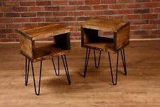 Rustic Retro industrial chunky solid wooden bedside side table hairpin leg