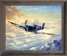 Spitfire Painting Military Airplane Aviation Barnwood Framed Wall Decor Picture
