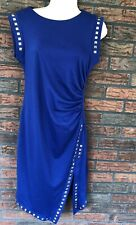 Cato Blue Sheath Gold Studs Small Sleeveless Dress Ruched Sides Illusion *Flaw*