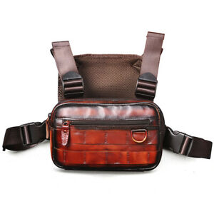 Vintage Crazy Horse Leather Men's Rectangle Chest Rig Bag Two Straps Streetwear