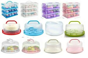 Plastic Cake Box Carrier Cupcake Storage Box Container Clear With Lid Lockable