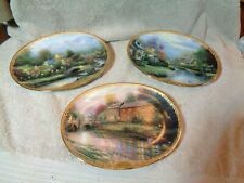 Set of 3 Vintage Thomas Kinkade Collector Plates Lamplight Village Series