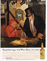 1960 WHITE HORSE Scotch Whiskey Edinburgh White Horse Cellar art VTG Print Ad
