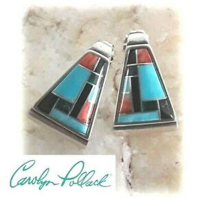CAROLYN POLLACK for Relios Sterling Multi-Gemstone Inlay Earrings