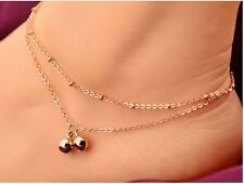 Lady Beach Ankle 2-Layer Gold Bell Chain Anklet Glamorous Bracelet Fashion Girl