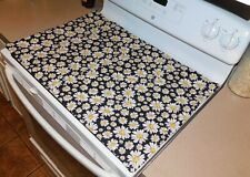Glass Top Stove Cover and Protector Quilted Material, Handmade, Color Chamomiles