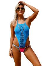 Costume Da Bagno Aperto Uncinetto Crochet Monokini Neoprene Swimwear Swimsuit L