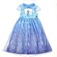 DISNEY Frozen Elsa Princess Gown Pajama Dress Costume Sparkle Shimmer Girls 7/8