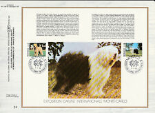 c feuillet CEF Monaco  exposition canine  chiens Berger de Brie et Bobtail 1982