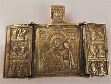 Vecchia icona Bronzo Russia Maria Madre di Dio con Bambino trittico 18 Jhg