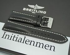 Breitling LEATHER black 441X 24/20 strap band 100% ORIGINAL & NEW Tang Buckle
