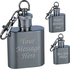 Engraved 1oz Hip Flask Keyring Personalised Groom / Husband to be Gift