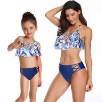 2019 Mommy Girls Family Matching Bikini Mother Daughter Swimwear Ruffle Swimsuit