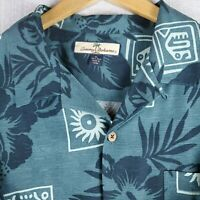 TOMMY BAHAMA Size XL 100% Silk Hawaiian Tiki Shirt Mens Short Sleeve Camp EUC