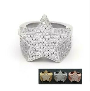 Hip Hop Sparkling Star Ring Bling Bling Out Iced Lab Simulated Diamond