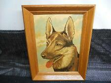 Old Vtg 1950's PAINT BY NUMBERS  German Shepard Dog  PICTURE w/  Oak Wood Frame
