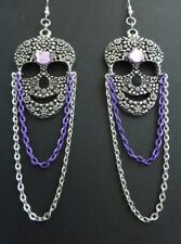 GOTHIC DAY OF THE DEAD SILVER SUGAR SKULL CHANDELIER EARRINGS SILVER LILAC CHAIN