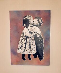 """SAGE Original """"Kids In Love"""" Painting 1/1 on wood kaws banksy obey supreme"""