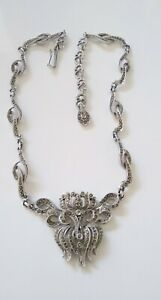 """Vintage HOLLYWOOD Real Marcasite silver toned Rhodium plated Necklace, , 16"""""""