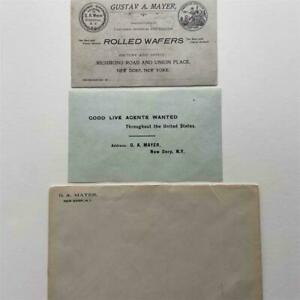ANTIQUE AD CARD & MAILER CARLSBAD IMPERIAL & VIENNA WAFERS GA MAYER Stapleton NY