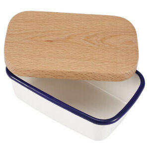 Enamel Butter Dish with Wooden Lid French Butter Dish White & Blue UK STOCK