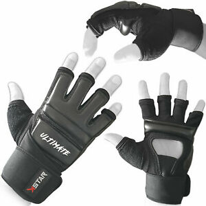 K STAR Leather MMA Boxing Gel Gloves Body Combat Punch Bag Training Martial Art