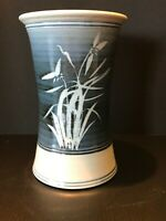Vintage Rare Vase Hand Crafted Gray and Blue Stoneware Pottery Signed OAK