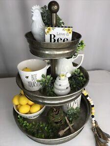 BeeHoney 5 Piece Tiered Tray Set Wood Sign Ceramic Honey Pot +  Farmhouse Style