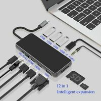 Dock Station MST USB Hub Type C USB C Dual HDMI VGA RJ45 PD USB 3.0 Thunderbolt