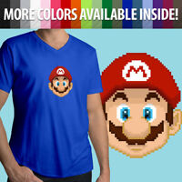 Super Mario Bros Pixel 8-bit Nintendo Video Game Face Mens Unisex Tee T-Shirt