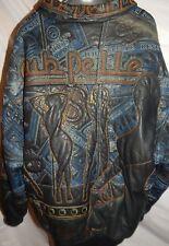 PELLE PELLE MARC BUCHANAN BLUE LEATHER WOMEN & DOLLARS LINED JACKET SIZE 2XL