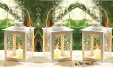 "3 shabby White 8"" Candle holder Lantern light wedding table centerpiece cheap"