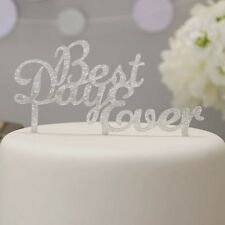 Sparkle Silver Best Day Ever Wedding Cake Topper - Metallic Perfection