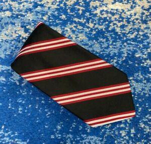 Brooks Brothers 346 Black Deep Red Silver Bias Stripes Silk Necktie USA