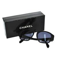 Auth CHANEL CC Logos Sunglasses Eye Wear Black Plastic Italy Vintage AK02055
