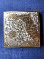 Vintage Wadsworth Brass Silver Makeup Compact Powder Mirror Florida Map Souvenir