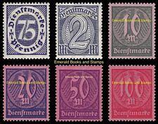 EBS Germany 1922 Inflation Official set Dienstmarken Michel D69-D74 MNH**